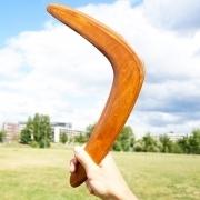 šviesiai rudas bumerangas, dovana vyrui gimtadienio dienos proga